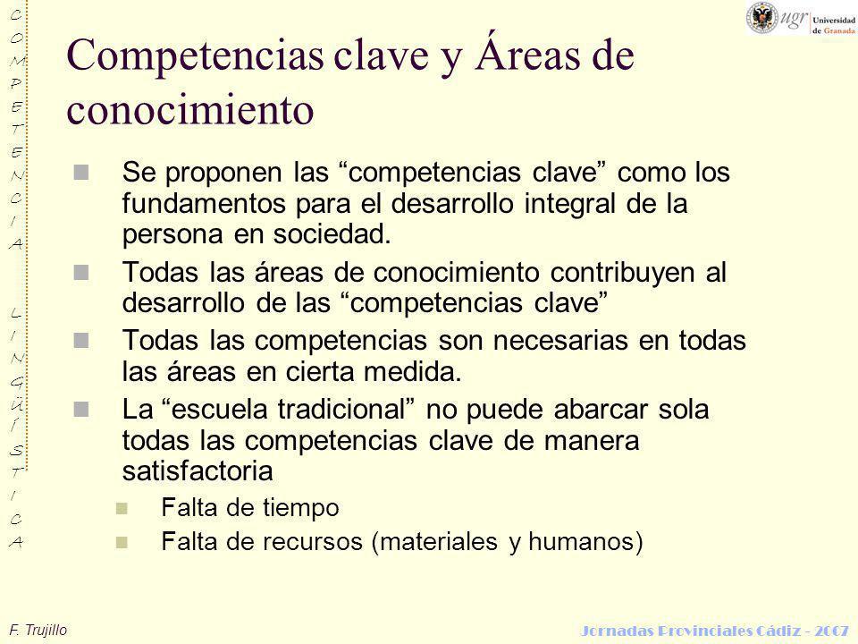 F. Trujillo COMPETENCIALINGÜÍSTICACOMPETENCIALINGÜÍSTICA Jornadas Provinciales Cádiz - 2007 Competencias clave y Áreas de conocimiento Se proponen las