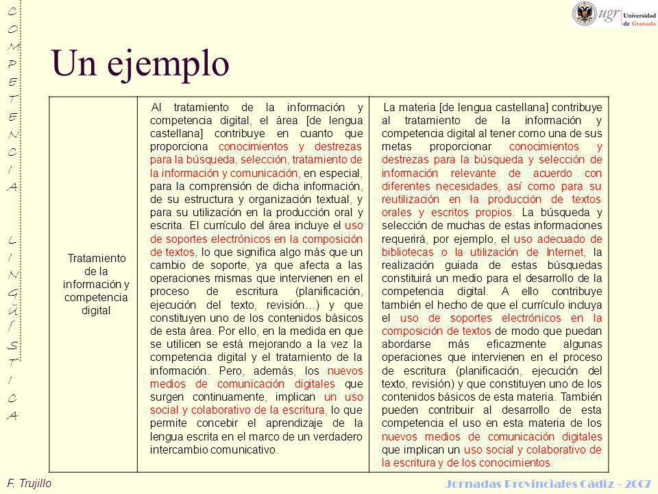 F. Trujillo COMPETENCIALINGÜÍSTICACOMPETENCIALINGÜÍSTICA Jornadas Provinciales Cádiz - 2007 Un ejemplo Tratamiento de la información y competencia dig