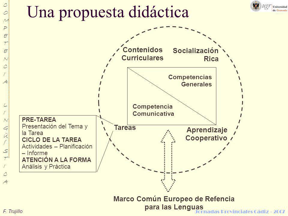 F. Trujillo COMPETENCIALINGÜÍSTICACOMPETENCIALINGÜÍSTICA Jornadas Provinciales Cádiz - 2007 Competencias Generales Contenidos Curriculares Tareas Apre