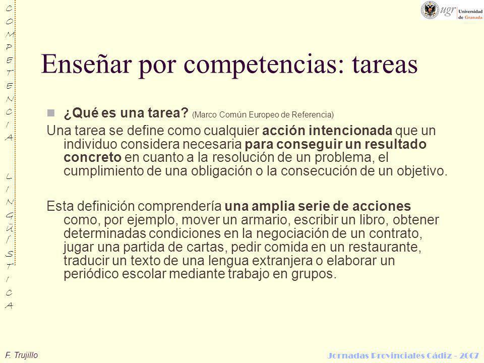 F. Trujillo COMPETENCIALINGÜÍSTICACOMPETENCIALINGÜÍSTICA Jornadas Provinciales Cádiz - 2007 Enseñar por competencias: tareas ¿Qué es una tarea? (Marco