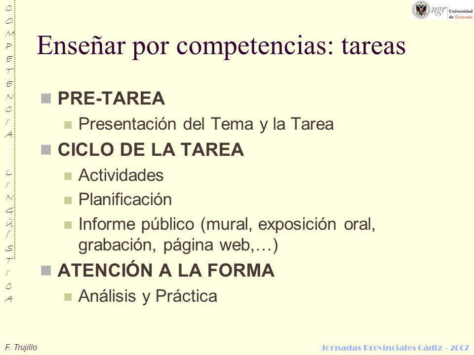 F. Trujillo COMPETENCIALINGÜÍSTICACOMPETENCIALINGÜÍSTICA Jornadas Provinciales Cádiz - 2007 Enseñar por competencias: tareas PRE-TAREA Presentación de