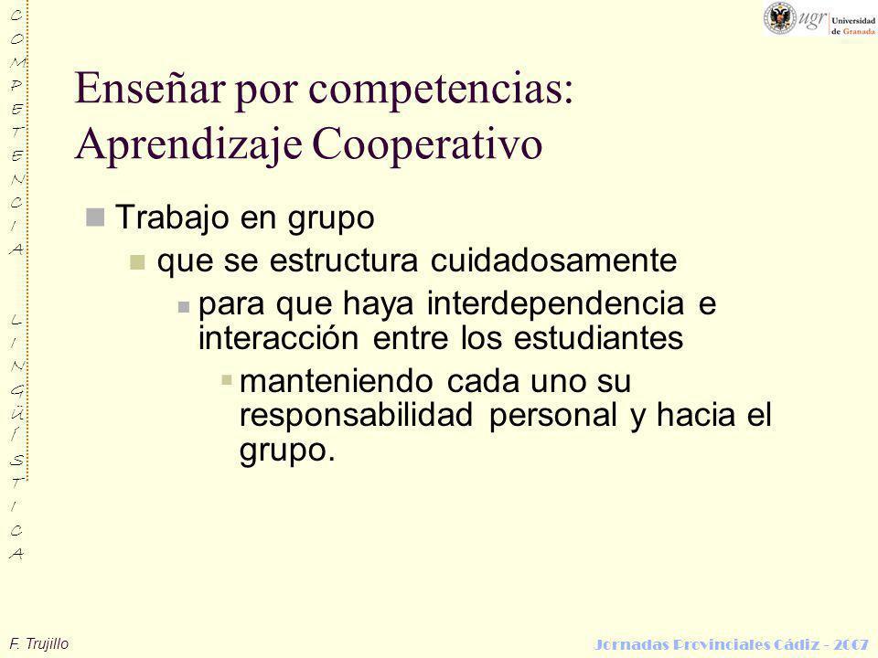 F. Trujillo COMPETENCIALINGÜÍSTICACOMPETENCIALINGÜÍSTICA Jornadas Provinciales Cádiz - 2007 Enseñar por competencias: Aprendizaje Cooperativo Trabajo