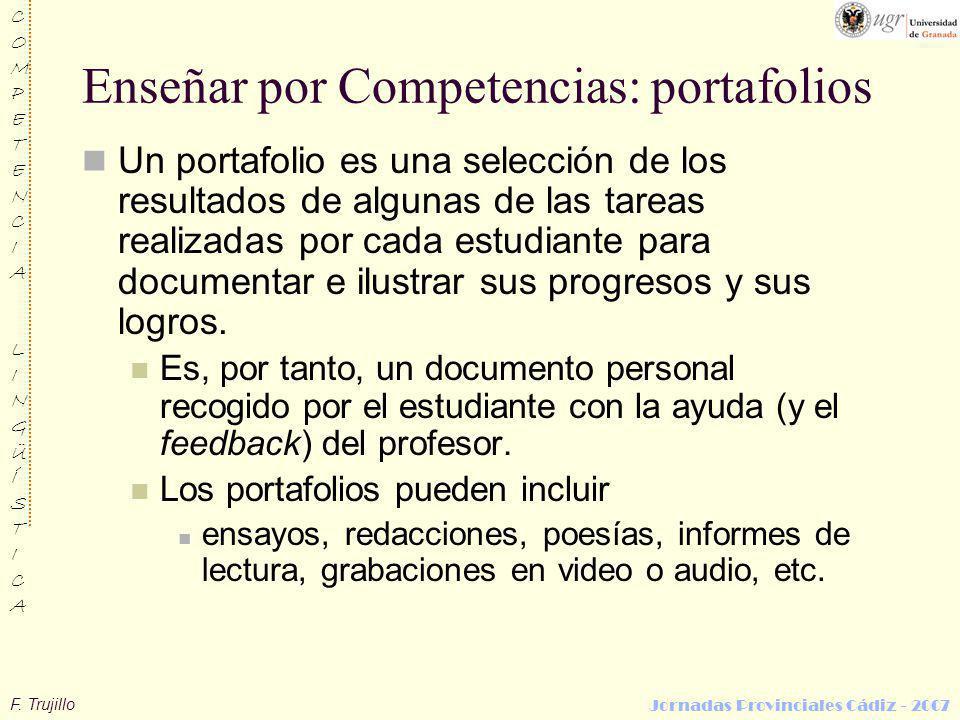 F. Trujillo COMPETENCIALINGÜÍSTICACOMPETENCIALINGÜÍSTICA Jornadas Provinciales Cádiz - 2007 Enseñar por Competencias: portafolios Un portafolio es una