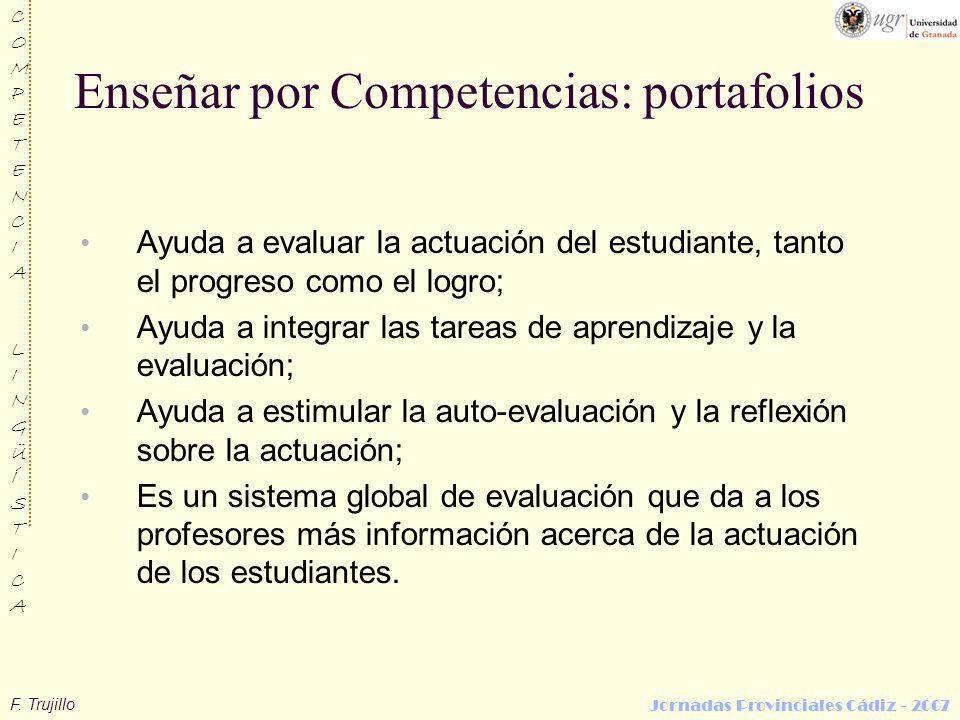 F. Trujillo COMPETENCIALINGÜÍSTICACOMPETENCIALINGÜÍSTICA Jornadas Provinciales Cádiz - 2007 Enseñar por Competencias: portafolios Ayuda a evaluar la a