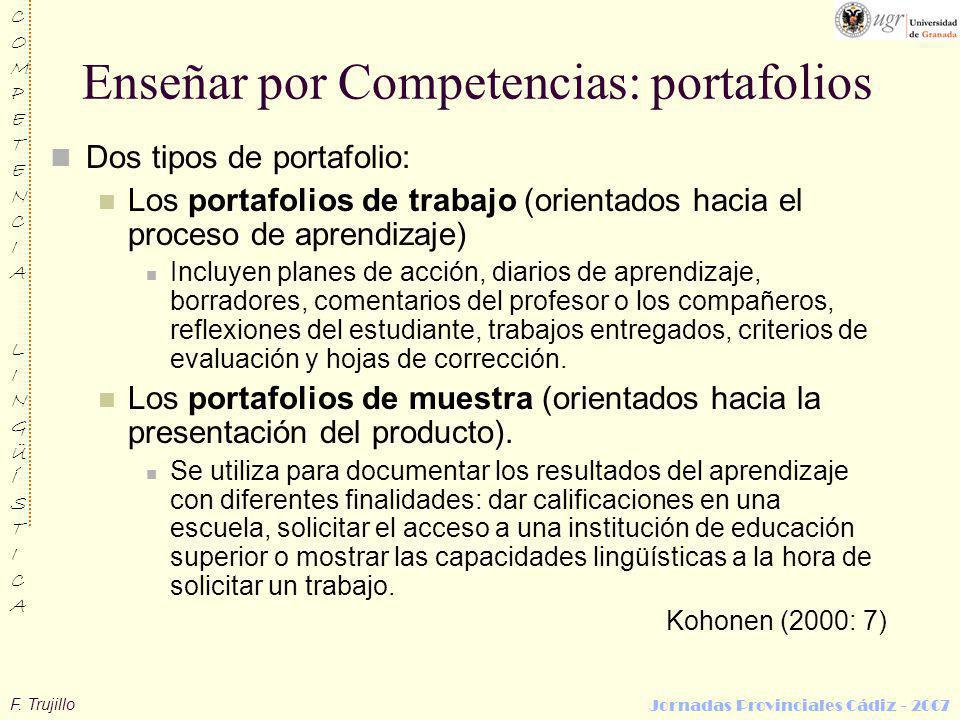 F. Trujillo COMPETENCIALINGÜÍSTICACOMPETENCIALINGÜÍSTICA Jornadas Provinciales Cádiz - 2007 Enseñar por Competencias: portafolios Dos tipos de portafo
