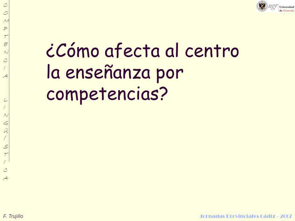 F. Trujillo Jornadas Provinciales Cádiz - 2007 COMPTENCIALINGÜÍSTICACOMPTENCIALINGÜÍSTICA ¿Cómo afecta al centro la enseñanza por competencias?
