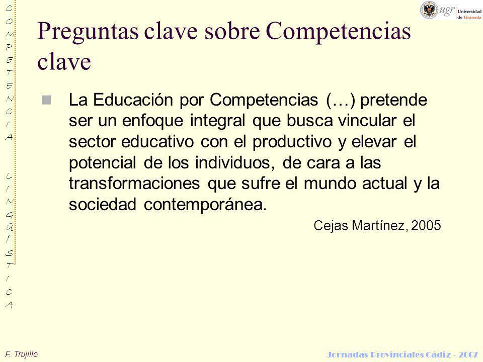 F. Trujillo COMPETENCIALINGÜÍSTICACOMPETENCIALINGÜÍSTICA Jornadas Provinciales Cádiz - 2007 Preguntas clave sobre Competencias clave La Educación por