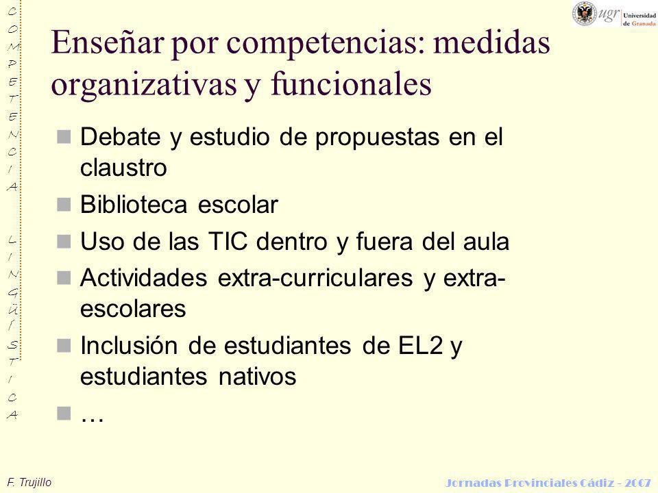 F. Trujillo COMPETENCIALINGÜÍSTICACOMPETENCIALINGÜÍSTICA Jornadas Provinciales Cádiz - 2007 Enseñar por competencias: medidas organizativas y funciona