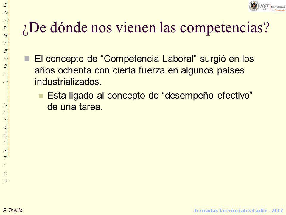 F. Trujillo COMPETENCIALINGÜÍSTICACOMPETENCIALINGÜÍSTICA Jornadas Provinciales Cádiz - 2007 ¿De dónde nos vienen las competencias? El concepto de Comp