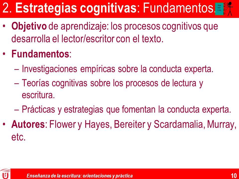 Enseñanza de la escritura: orientaciones y práctica 10 2. Estrategias cognitivas : Fundamentos. Objetivo de aprendizaje: los procesos cognitivos que d