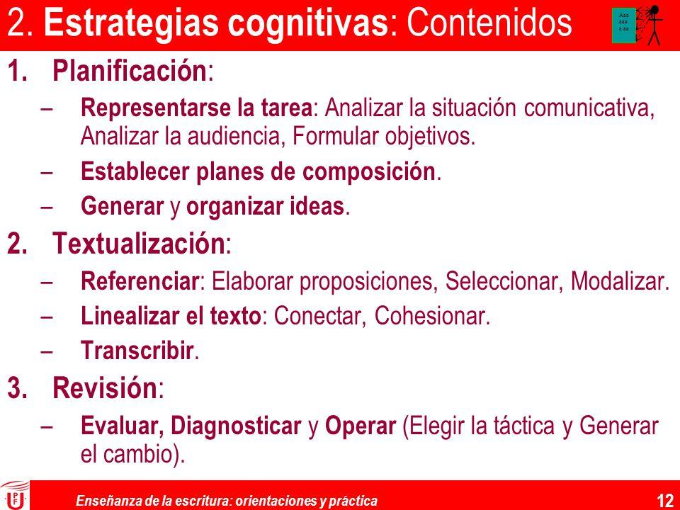 Enseñanza de la escritura: orientaciones y práctica 12 2. Estrategias cognitivas : Contenidos 1.Planificación : – Representarse la tarea : Analizar la