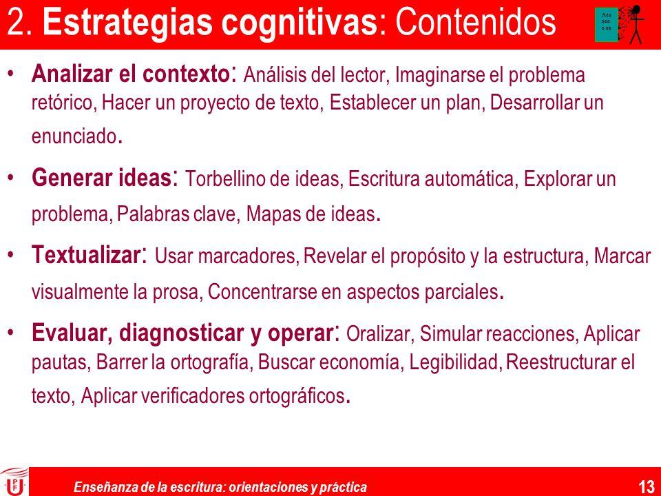 Enseñanza de la escritura: orientaciones y práctica 13 2. Estrategias cognitivas : Contenidos Analizar el contexto : Análisis del lector, Imaginarse e