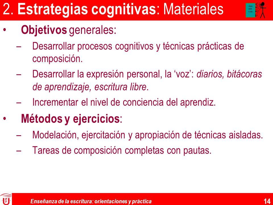 Enseñanza de la escritura: orientaciones y práctica 14 2. Estrategias cognitivas : Materiales Objetivos generales: –Desarrollar procesos cognitivos y