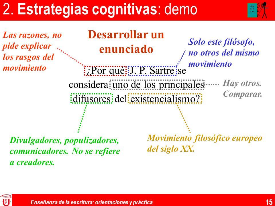 Enseñanza de la escritura: orientaciones y práctica 15 2. Estrategias cognitivas : demo ¿Por qué J. P. Sartre se considera uno de los principales difu