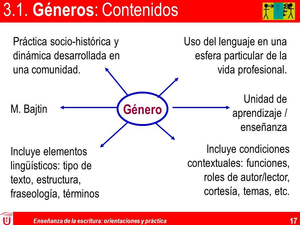 Enseñanza de la escritura: orientaciones y práctica 17 3.1. Géneros : Contenidos AA AA A Género M. Bajtin Incluye elementos lingüísticos: tipo de text