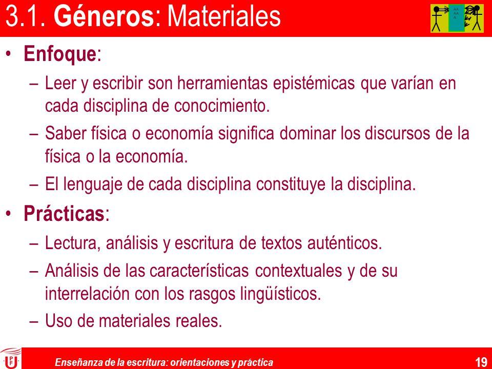 Enseñanza de la escritura: orientaciones y práctica 19 3.1. Géneros : Materiales Enfoque : –Leer y escribir son herramientas epistémicas que varían en