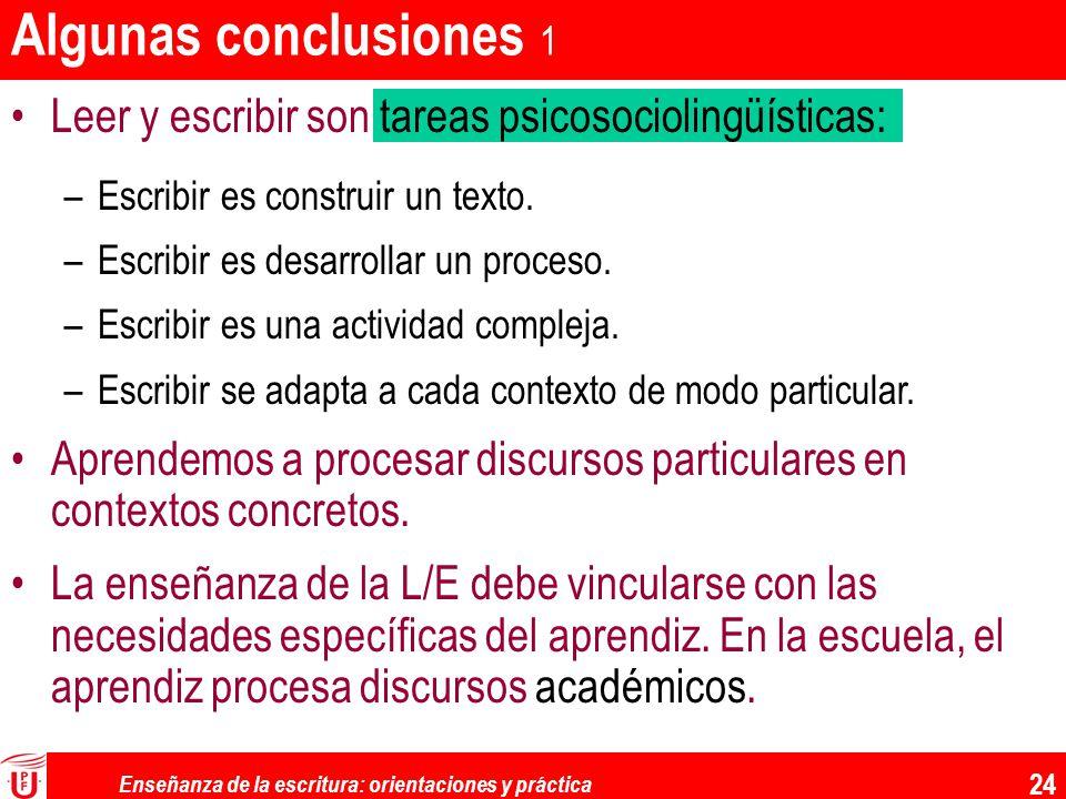 Enseñanza de la escritura: orientaciones y práctica 24 Algunas conclusiones 1 Leer y escribir son tareas psicosociolingüísticas: –Escribir es construi