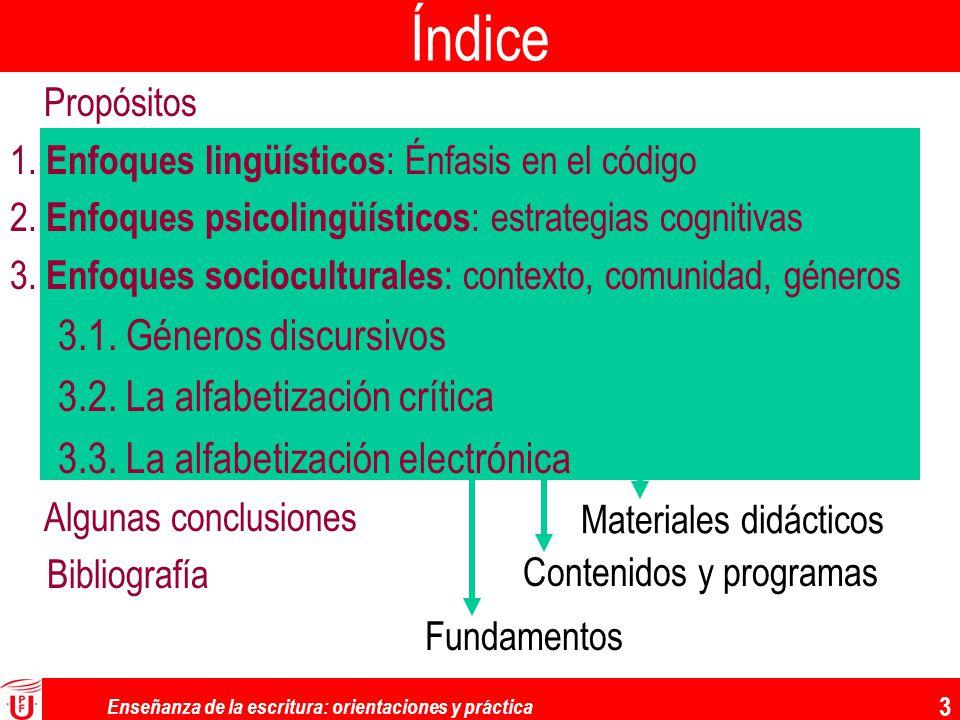 Enseñanza de la escritura: orientaciones y práctica 3 Índice FundamentosContenidos y programas Materiales didácticos Propósitos 1. Enfoques lingüístic