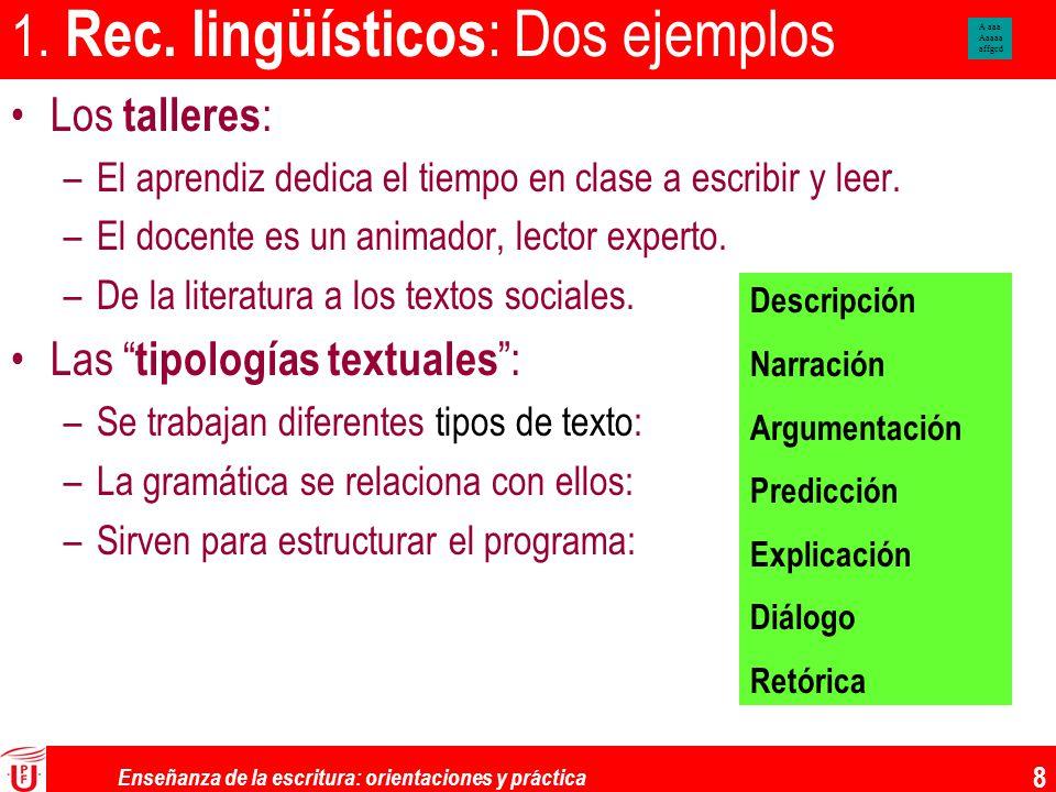 Enseñanza de la escritura: orientaciones y práctica 8 1. Rec. lingüísticos : Dos ejemplos Los talleres : –El aprendiz dedica el tiempo en clase a escr