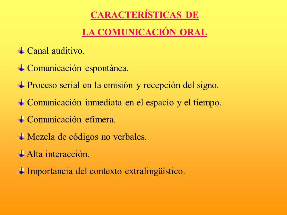 CARACTERÍSTICAS DE LA COMUNICACIÓN ORAL Canal auditivo. Comunicación espontánea. Proceso serial en la emisión y recepción del signo. Comunicación inme