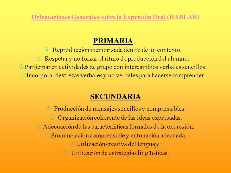 Orientaciones Generales sobre la Expresión Oral (HABLAR) PRIMARIA ¶ Reproducción memorizada dentro de un contexto. · Respetar y no forzar el ritmo de
