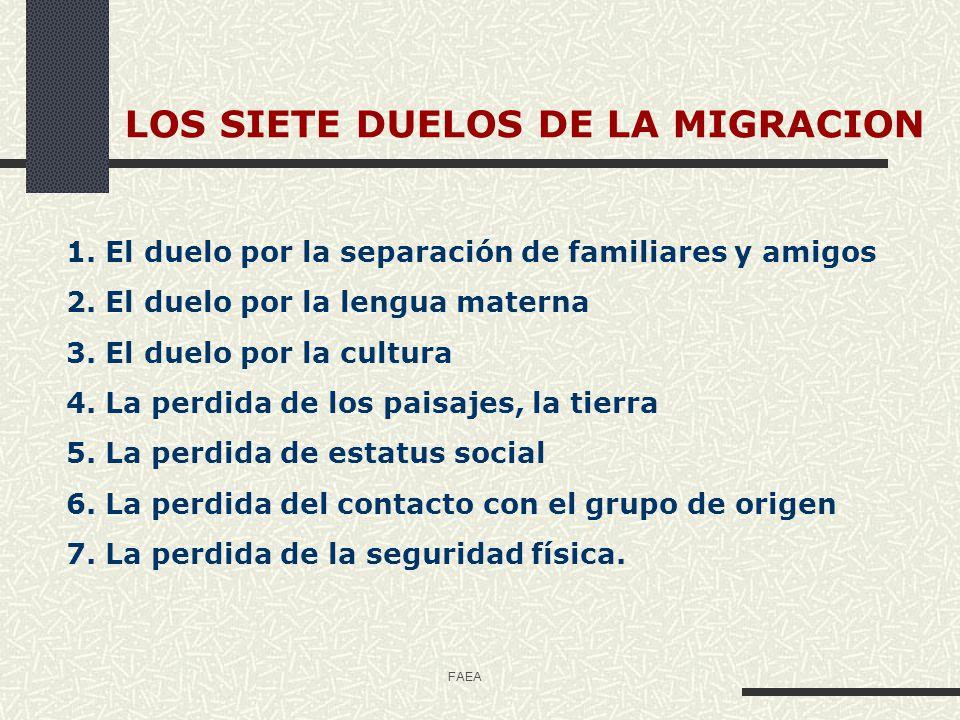 FAEA 1.- Duelo por la separación de familia y amigos Uno de los problemas que más sufren las personas inmigrantes es la ausencia del grupo familiar.