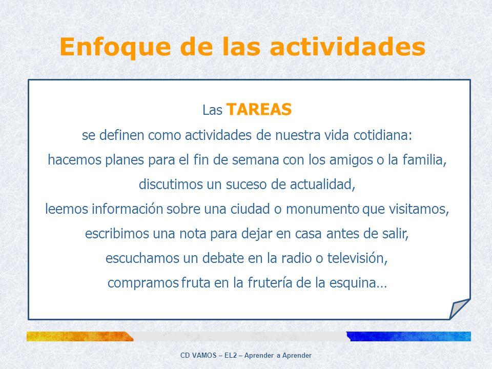 CD VAMOS – EL2 – Aprender a Aprender Las TAREAS se definen como actividades de nuestra vida cotidiana: hacemos planes para el fin de semana con los am