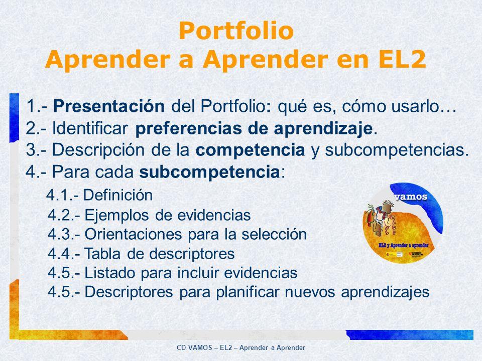 CD VAMOS – EL2 – Aprender a Aprender 1.- Presentación del Portfolio: qué es, cómo usarlo… 2.- Identificar preferencias de aprendizaje. 3.- Descripción