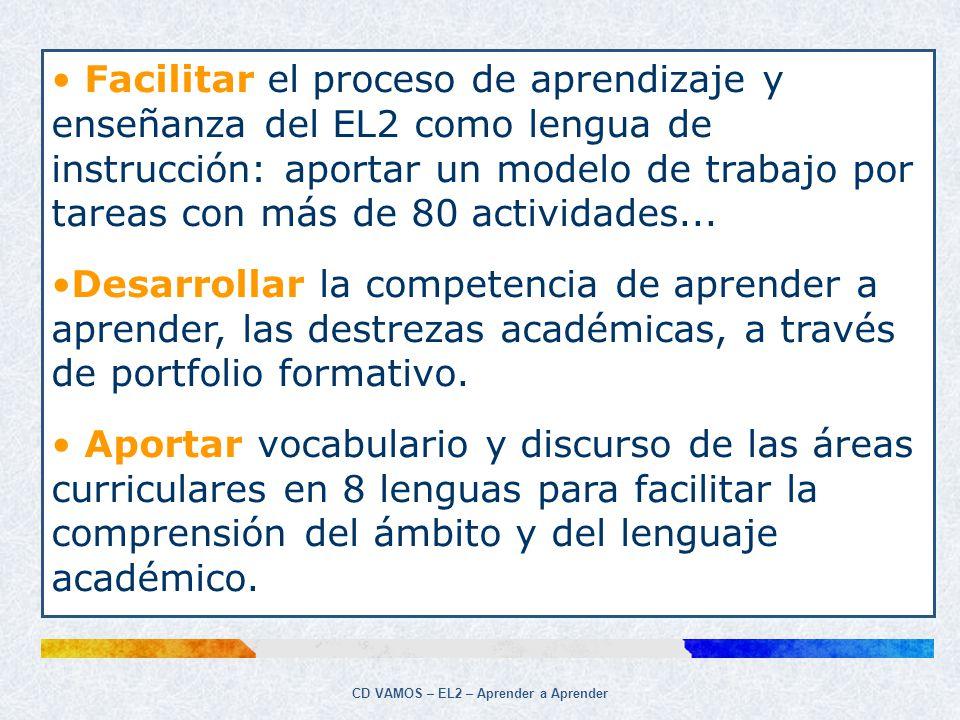 CD VAMOS – EL2 – Aprender a Aprender Y también en VAMOS… Vocabulario básico de las áreas curriculares en wolof, árabe, chino, inglés, francés, ruso y rumano.