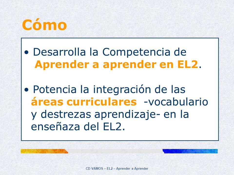 CD VAMOS – EL2 – Aprender a Aprender Aprender a Aprender es una competencia que implica… Organizar el aprendizaje, gestionar el tiempo y la información individualmente o en grupo.