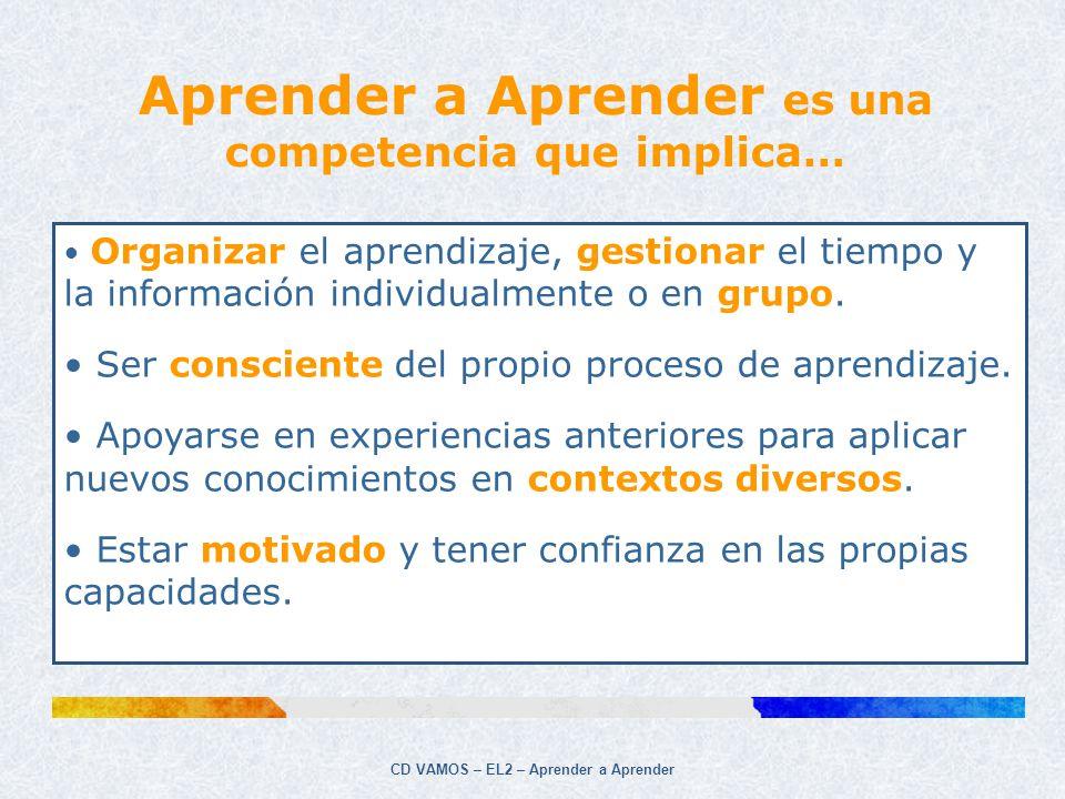 CD VAMOS – EL2 – Aprender a Aprender Aprender a Aprender es una competencia que implica… Organizar el aprendizaje, gestionar el tiempo y la informació