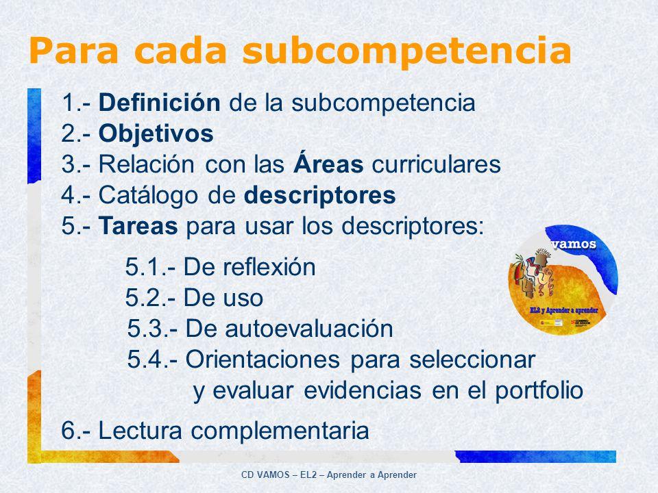 CD VAMOS – EL2 – Aprender a Aprender 1.- Definición de la subcompetencia 2.- Objetivos 3.- Relación con las Áreas curriculares 4.- Catálogo de descrip