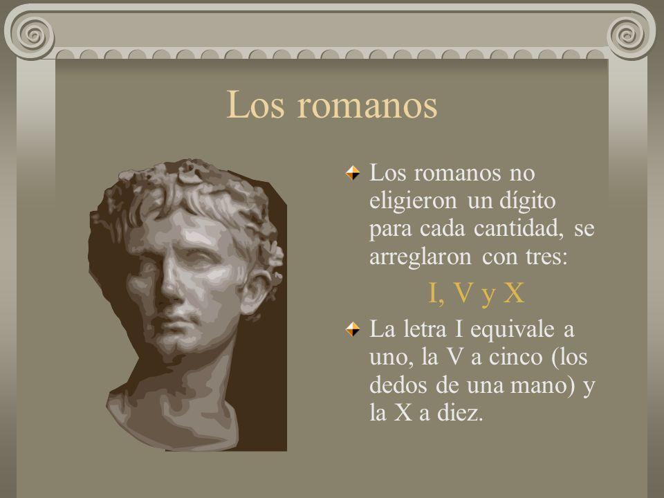 Los romanos Los romanos no eligieron un dígito para cada cantidad, se arreglaron con tres: I, V y X La letra I equivale a uno, la V a cinco (los dedos