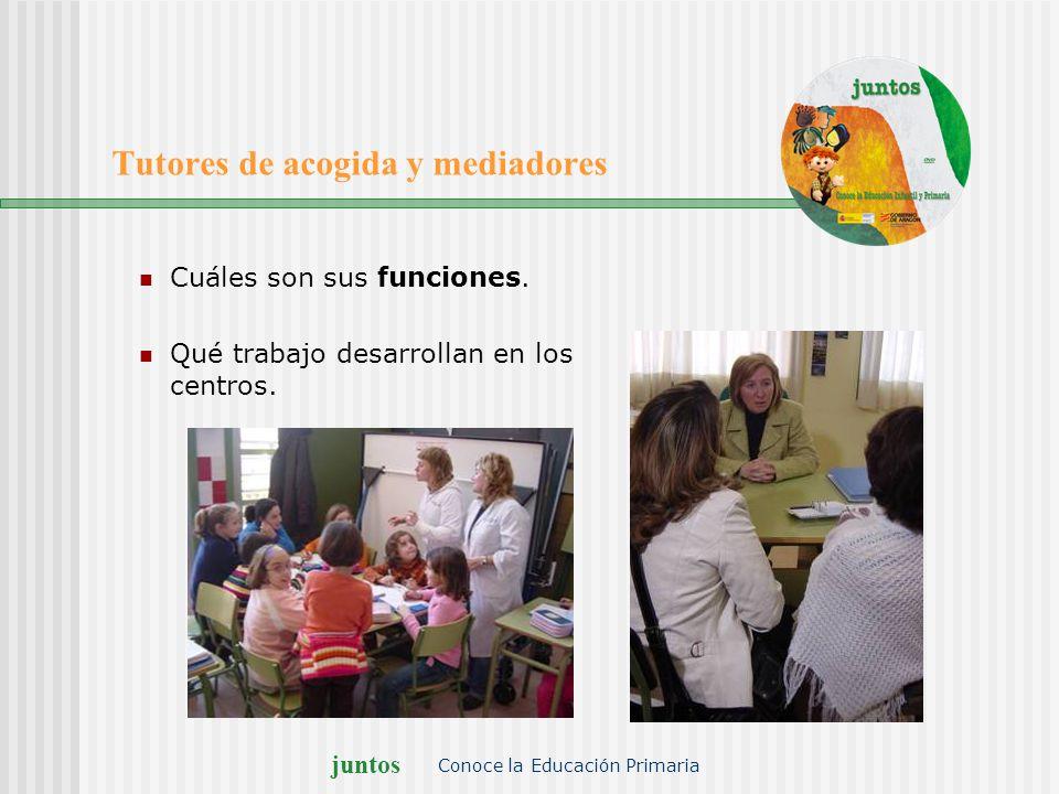 juntos Conoce la Educación Primaria Tutores de acogida y mediadores Cuáles son sus funciones. Qué trabajo desarrollan en los centros.