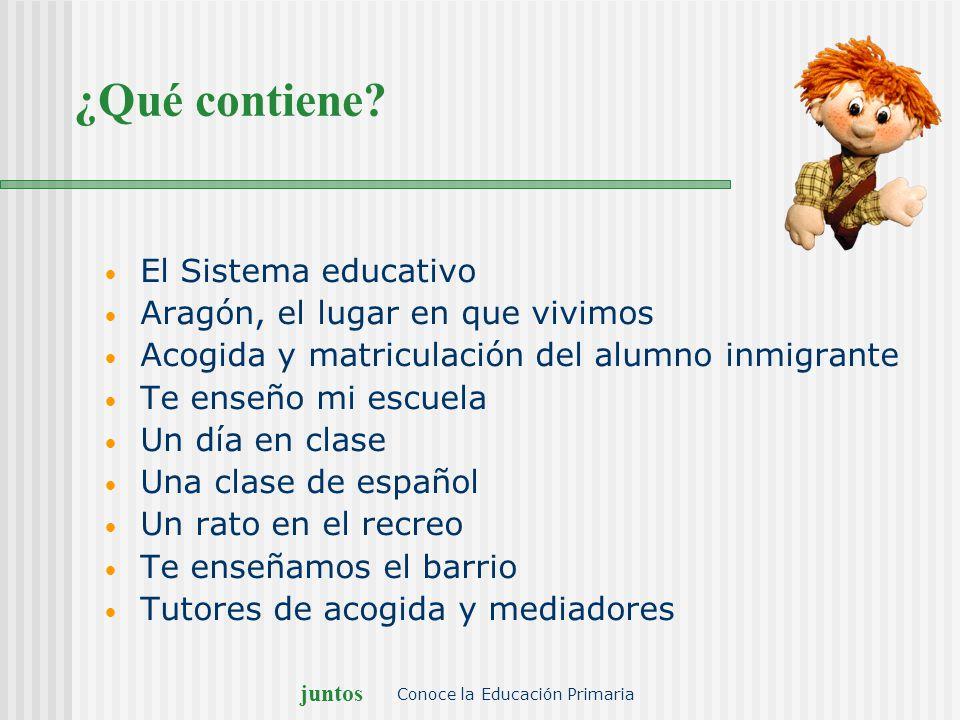 juntos Conoce la Educación Primaria ¿Qué contiene? El Sistema educativo Aragón, el lugar en que vivimos Acogida y matriculación del alumno inmigrante
