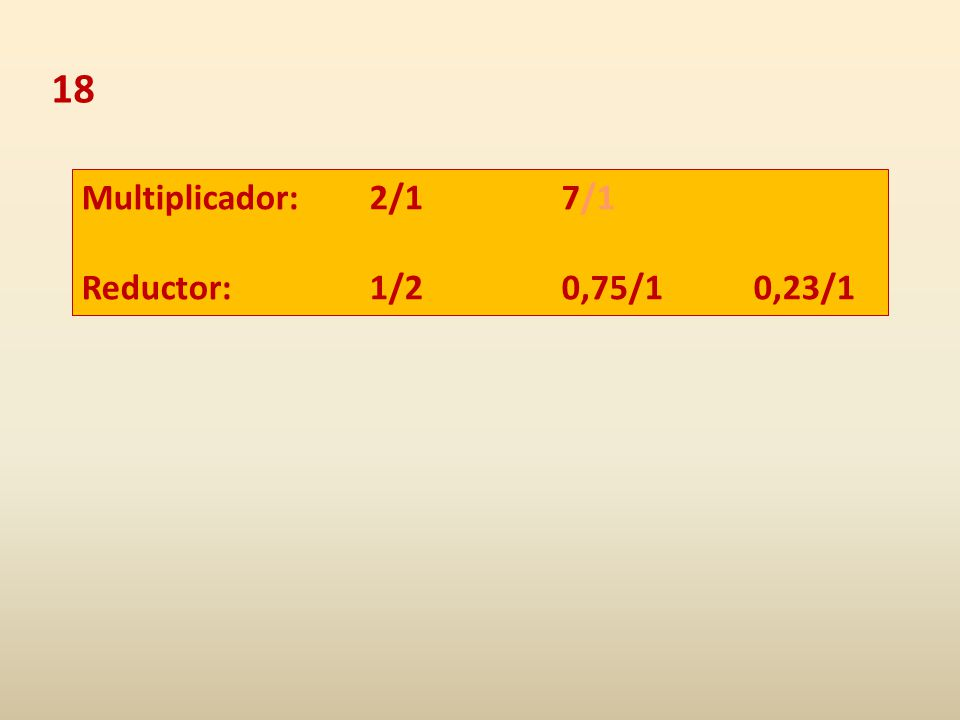 18 Multiplicador: 2/1 7/1 Reductor: 1/20,75/10,23/1