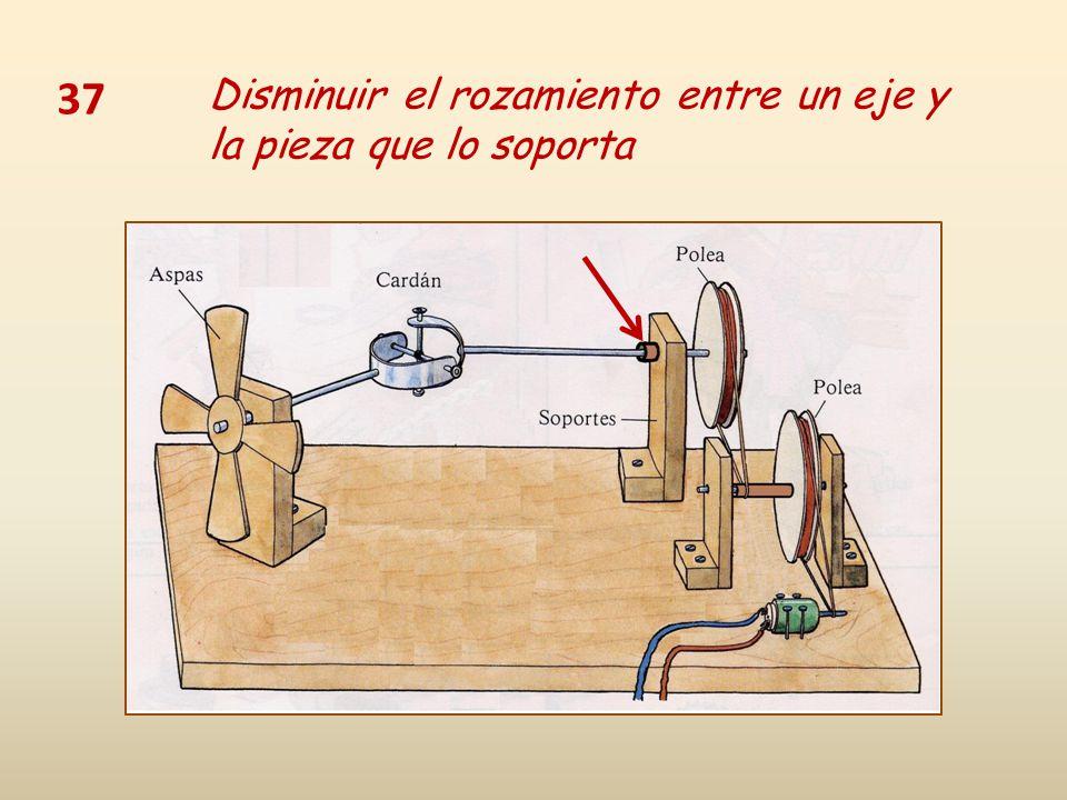 37 Disminuir el rozamiento entre un eje y la pieza que lo soporta