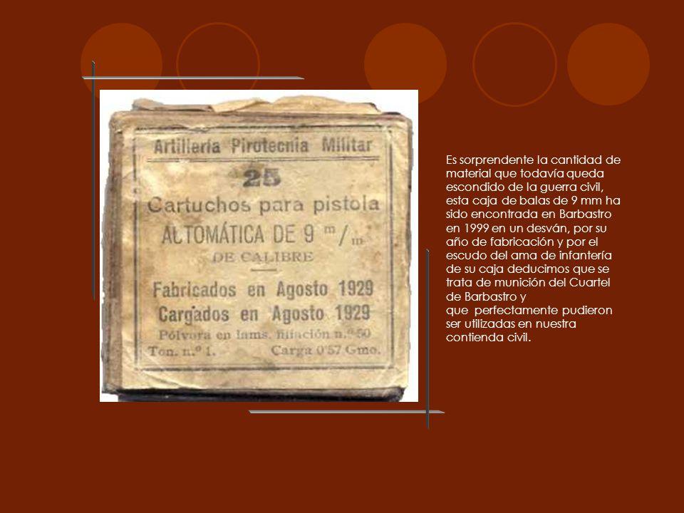 Es sorprendente la cantidad de material que todavía queda escondido de la guerra civil, esta caja de balas de 9 mm ha sido encontrada en Barbastro en
