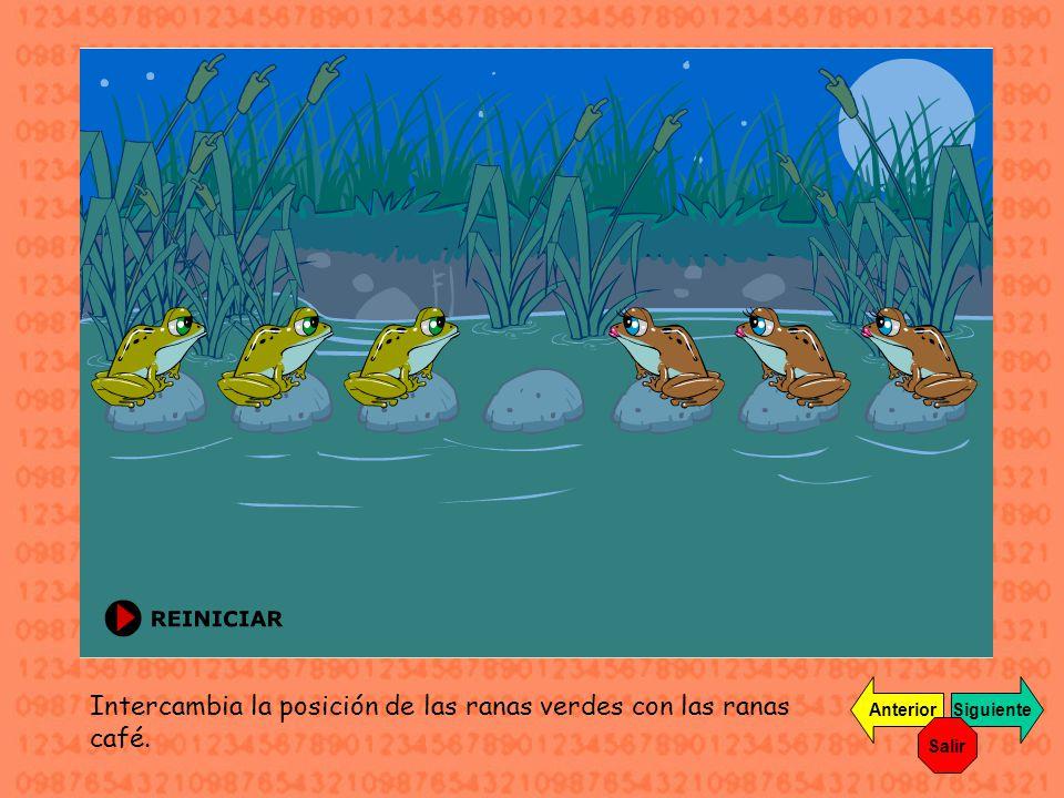 Intercambia la posición de las ranas verdes con las ranas café. SiguienteAnterior Salir