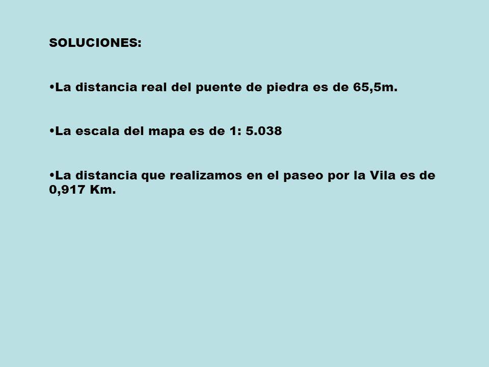 SOLUCIONES: La distancia real del puente de piedra es de 65,5m. La escala del mapa es de 1: 5.038 La distancia que realizamos en el paseo por la Vila