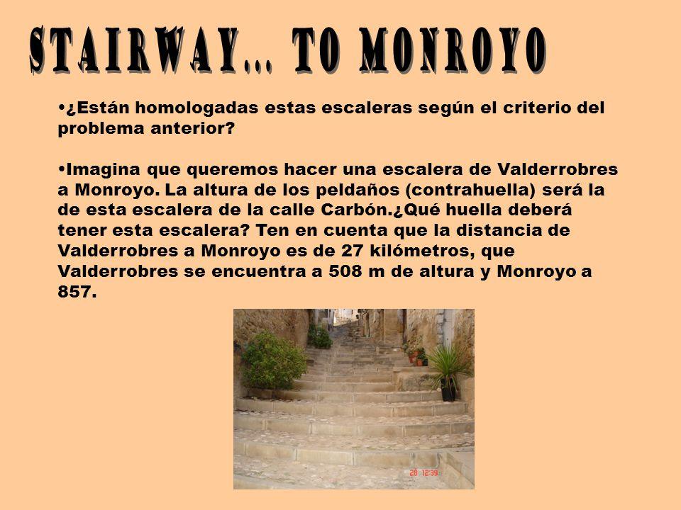 ¿Están homologadas estas escaleras según el criterio del problema anterior? Imagina que queremos hacer una escalera de Valderrobres a Monroyo. La altu