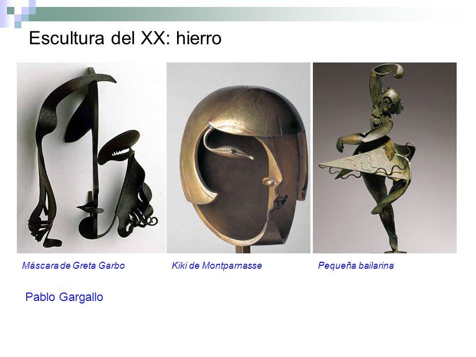 Escultura del XX: hierro Máscara de Greta GarboKiki de MontparnassePequeña bailarina Pablo Gargallo