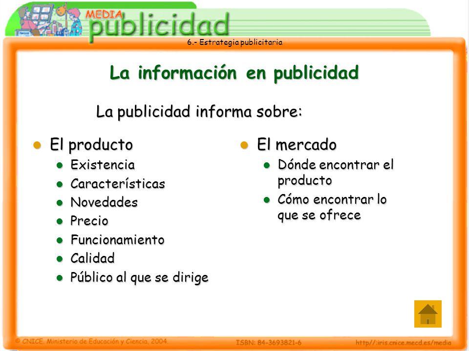6.- Estrategia publicitaria La información en publicidad La publicidad informa sobre: El producto El producto Existencia Existencia Características Ca