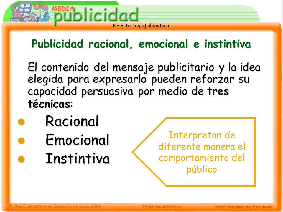 6.- Estrategia publicitaria Publicidad racional, emocional e instintiva El contenido del mensaje publicitario y la idea elegida para expresarlo pueden