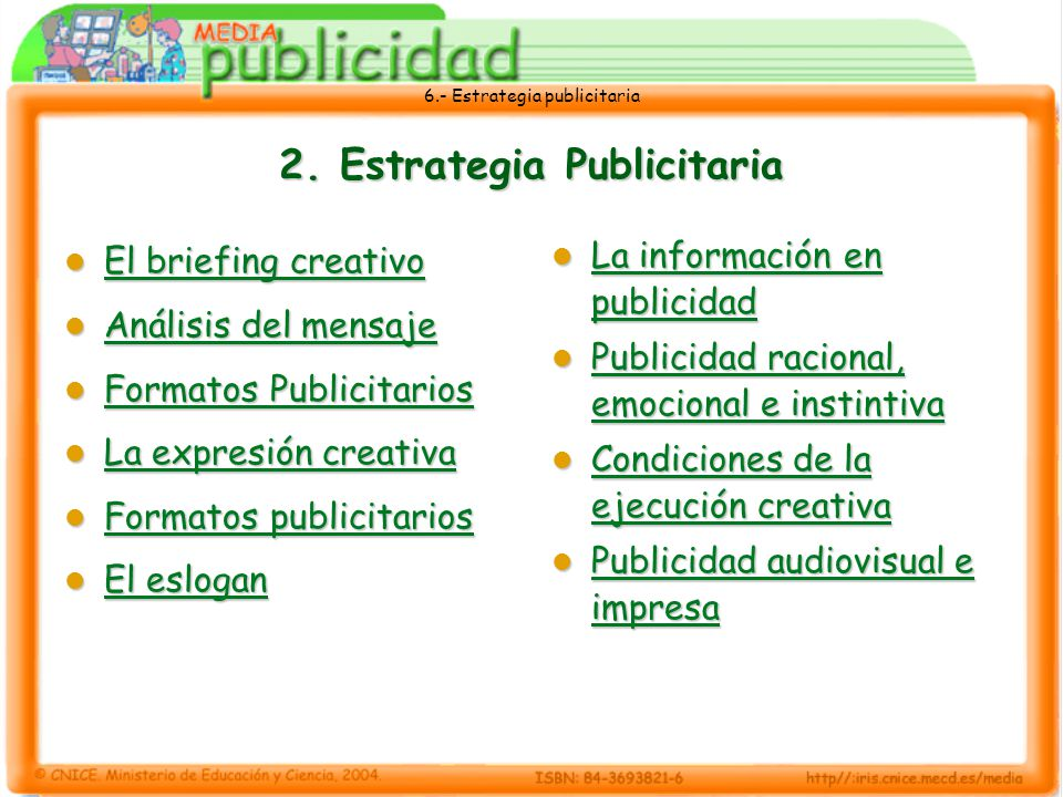 6.- Estrategia publicitaria 2. Estrategia Publicitaria El briefing creativo El briefing creativo El briefing creativo El briefing creativo Análisis de