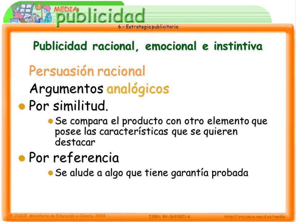 6.- Estrategia publicitaria Publicidad racional, emocional e instintiva Persuasión racional Argumentos analógicos Por similitud. Por similitud. Se com