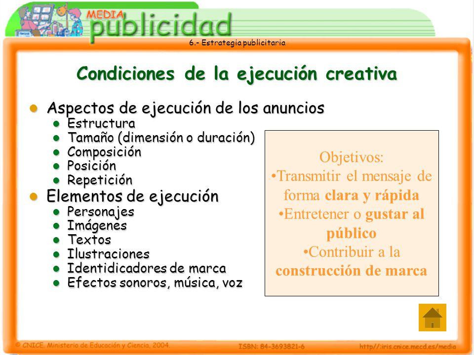 Aspectos de ejecución de los anuncios Aspectos de ejecución de los anuncios Estructura Estructura Tamaño (dimensión o duración) Tamaño (dimensión o du