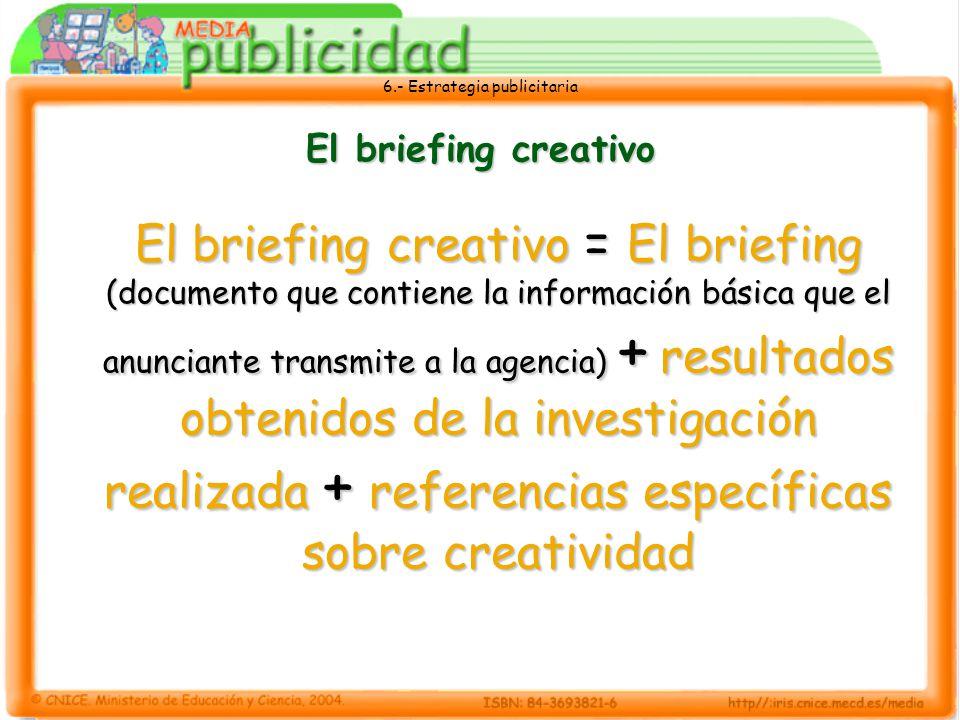 6.- Estrategia publicitaria El briefing creativo El briefing creativo = El briefing (documento que contiene la información básica que el anunciante tr