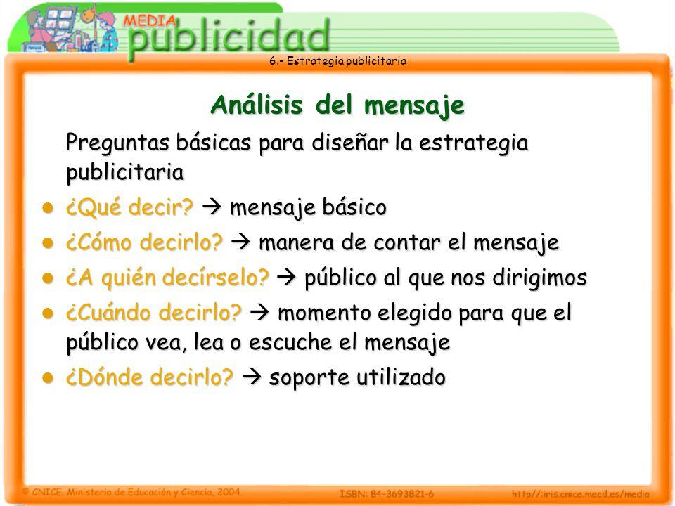 6.- Estrategia publicitaria Análisis del mensaje Preguntas básicas para diseñar la estrategia publicitaria ¿Qué decir? mensaje básico ¿Qué decir? mens