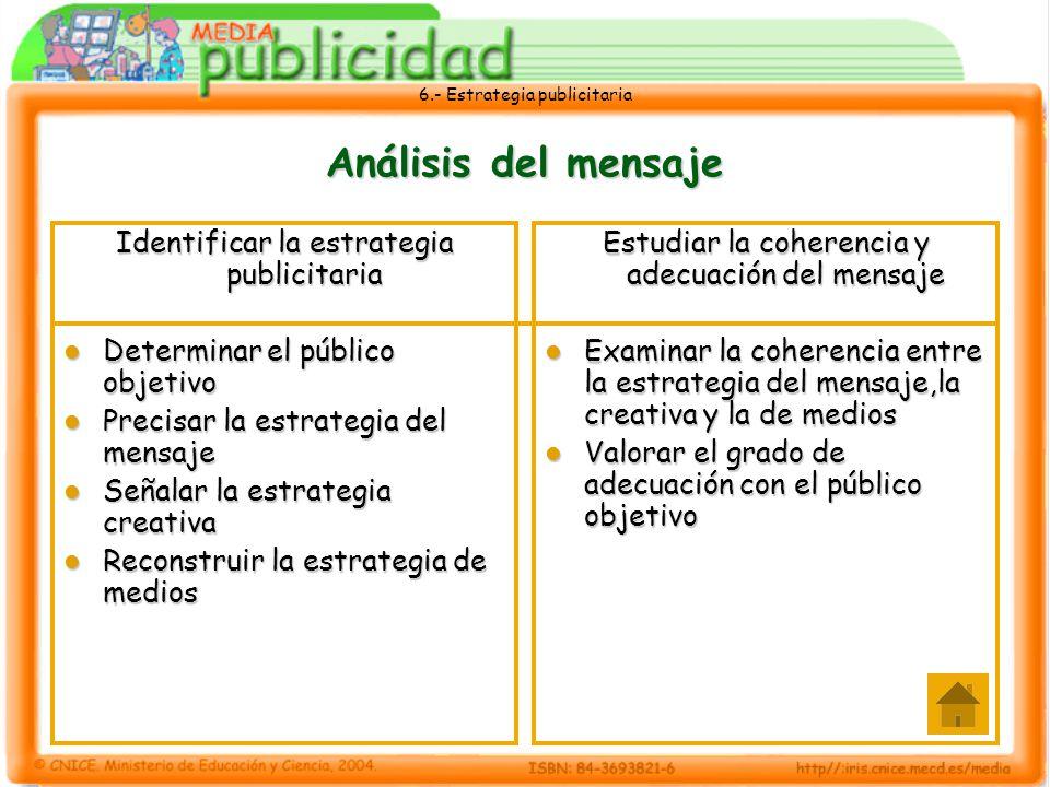 6.- Estrategia publicitaria Análisis del mensaje Identificar la estrategia publicitaria Determinar el público objetivo Determinar el público objetivo